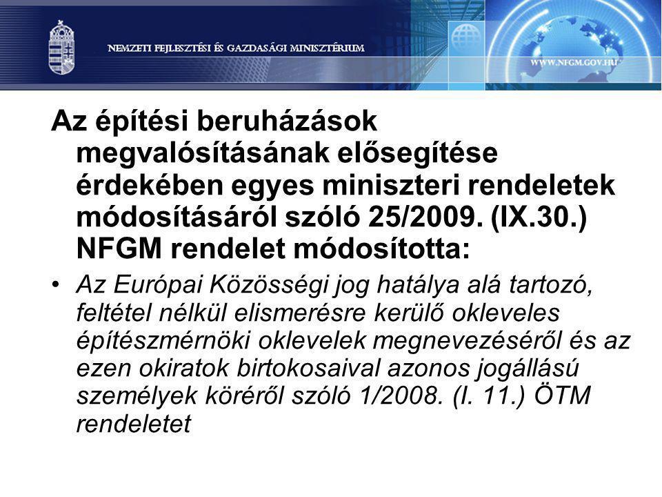 Az építési beruházások megvalósításának elősegítése érdekében egyes miniszteri rendeletek módosításáról szóló 25/2009. (IX.30.) NFGM rendelet módosította: