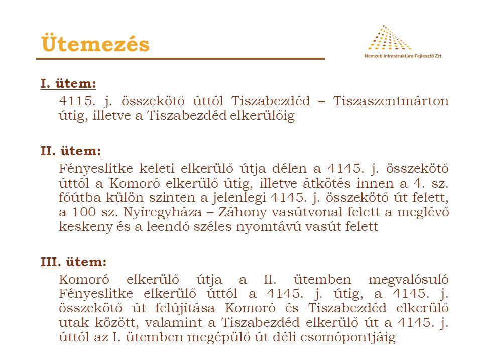 Ütemezés I. ütem: 4115. j. összekötő úttól Tiszabezdéd – Tiszaszentmárton útig, illetve a Tiszabezdéd elkerülőig.