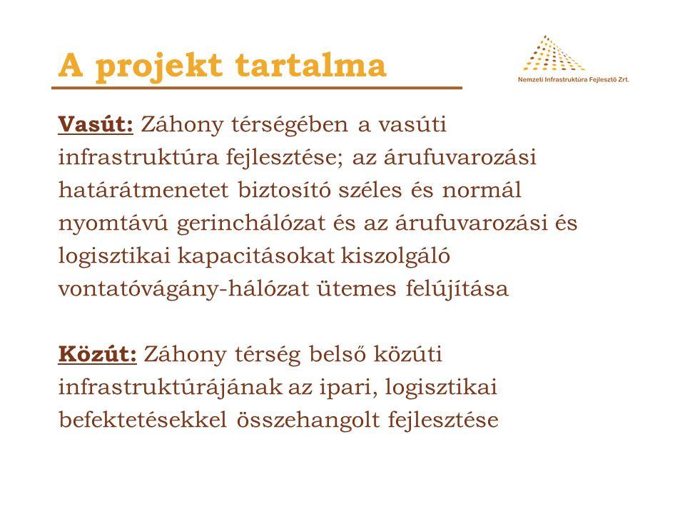 A projekt tartalma Vasút: Záhony térségében a vasúti