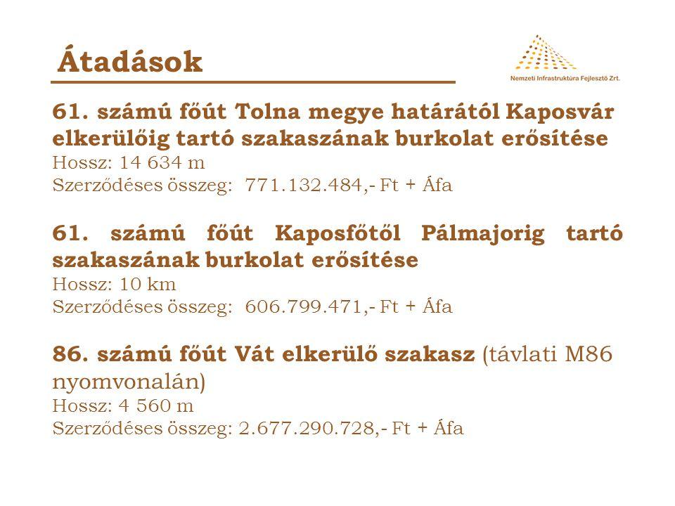 Átadások 61. számú főút Tolna megye határától Kaposvár elkerülőig tartó szakaszának burkolat erősítése.