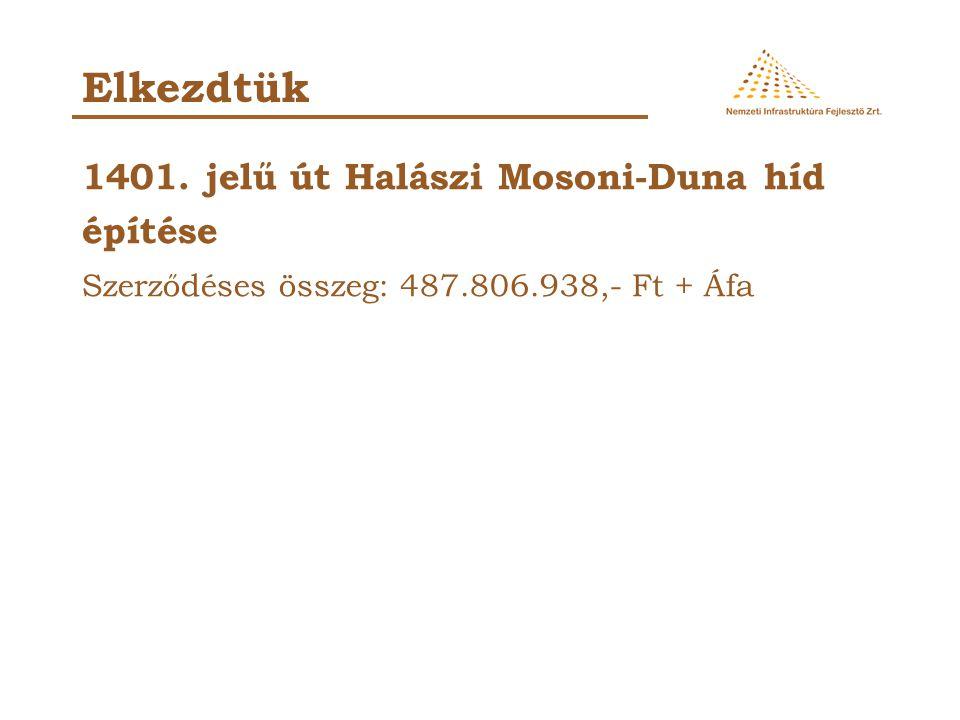 Elkezdtük 1401. jelű út Halászi Mosoni-Duna híd építése