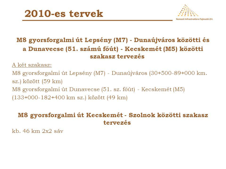 2010-es tervek M8 gyorsforgalmi út Lepsény (M7) - Dunaújváros közötti és. a Dunavecse (51. számú főút) - Kecskemét (M5) közötti szakasz tervezés.