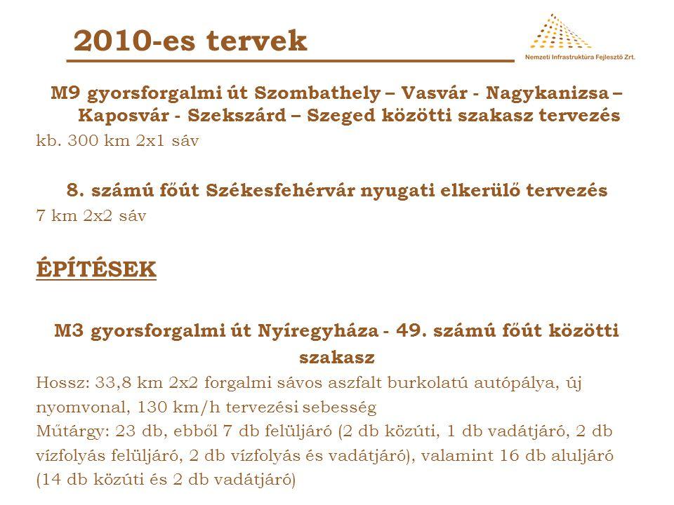 2010-es tervek M9 gyorsforgalmi út Szombathely – Vasvár - Nagykanizsa – Kaposvár - Szekszárd – Szeged közötti szakasz tervezés.