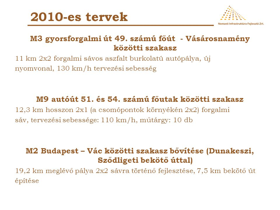 2010-es tervek M3 gyorsforgalmi út 49. számú főút - Vásárosnamény közötti szakasz. 11 km 2x2 forgalmi sávos aszfalt burkolatú autópálya, új.