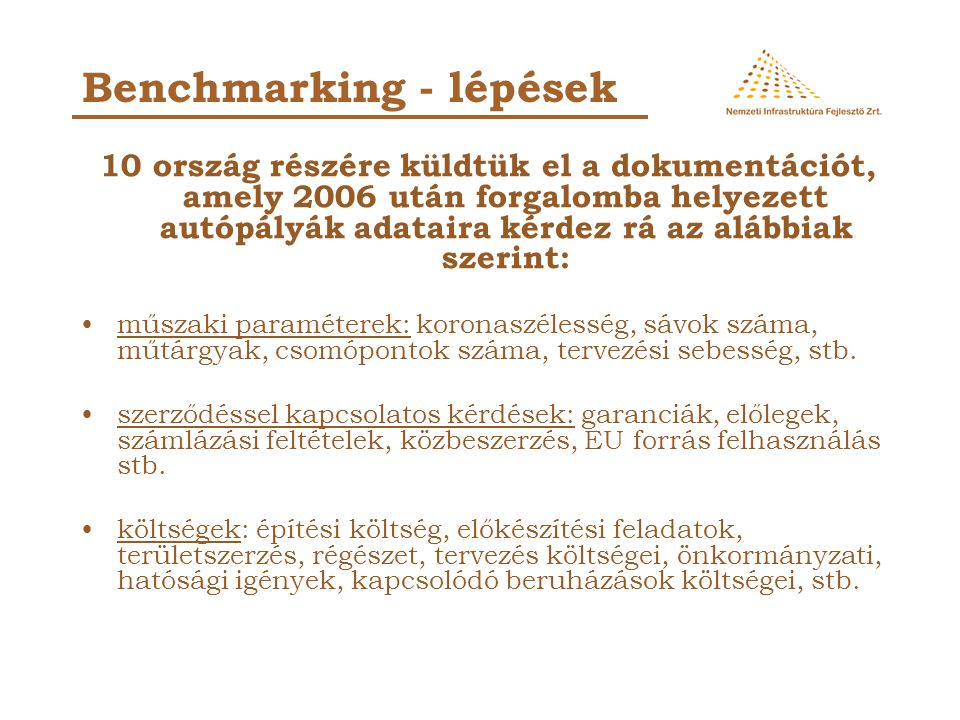 Benchmarking - lépések