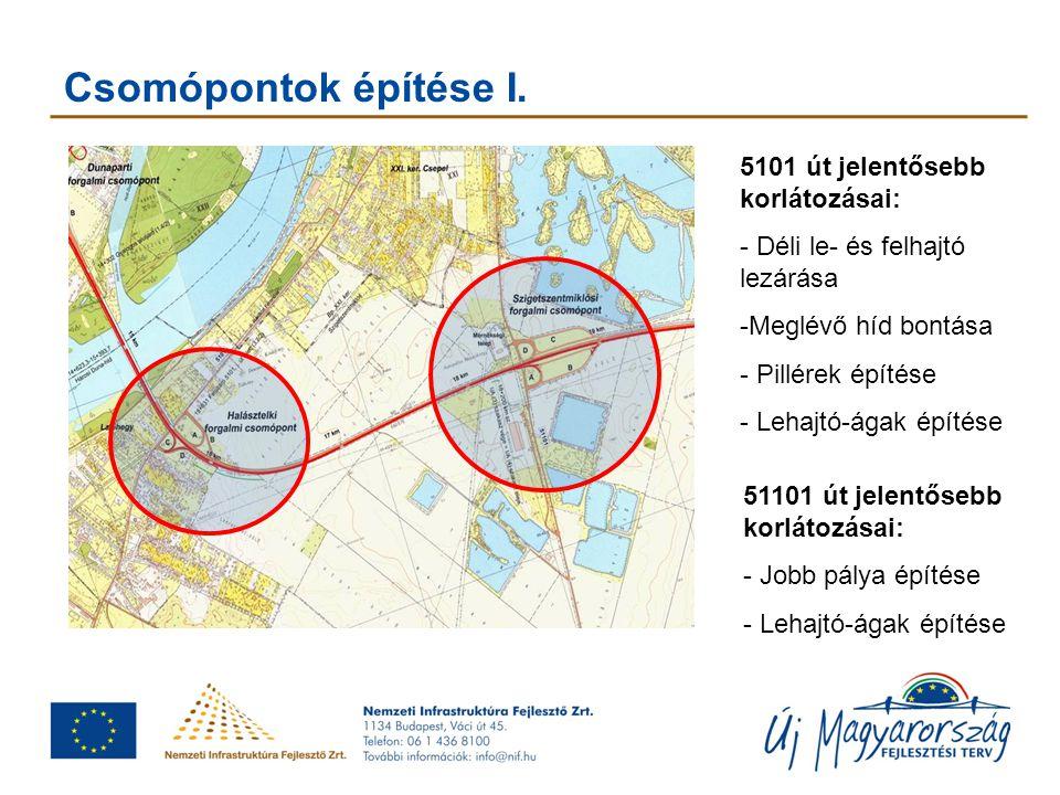 Csomópontok építése I. 5101 út jelentősebb korlátozásai: