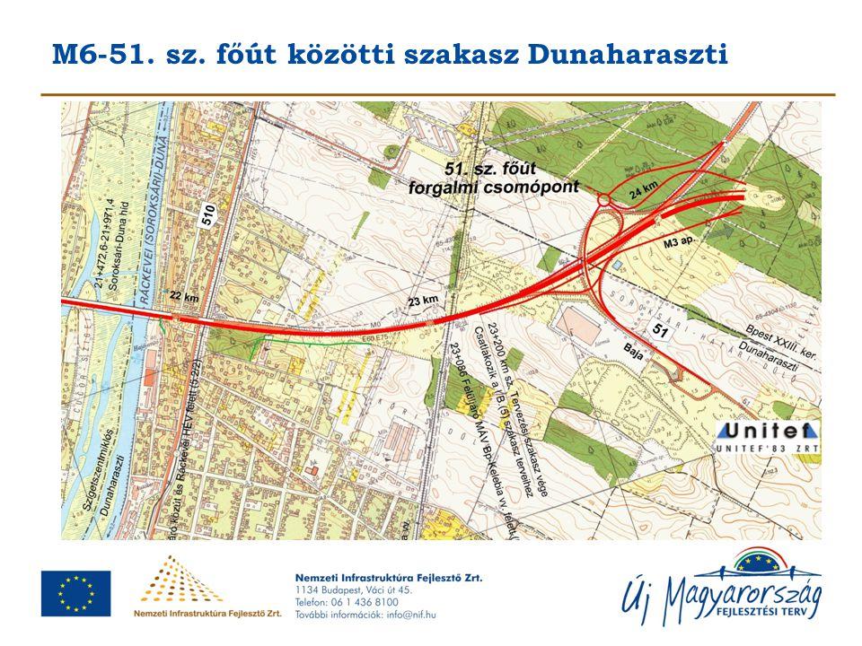 M6-51. sz. főút közötti szakasz Dunaharaszti