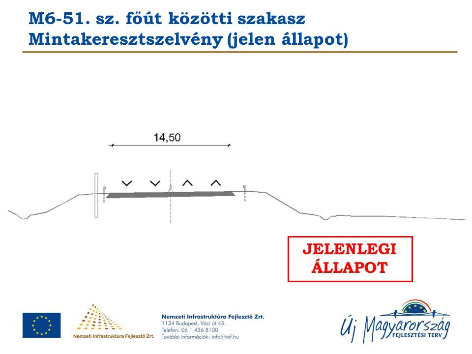M6-51. sz. főút közötti szakasz Mintakeresztszelvény (jelen állapot)