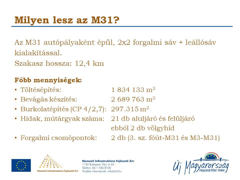 Milyen lesz az M31 Az M31 autópályaként épül, 2x2 forgalmi sáv + leállósáv kialakítással. Szakasz hossza: 12,4 km.