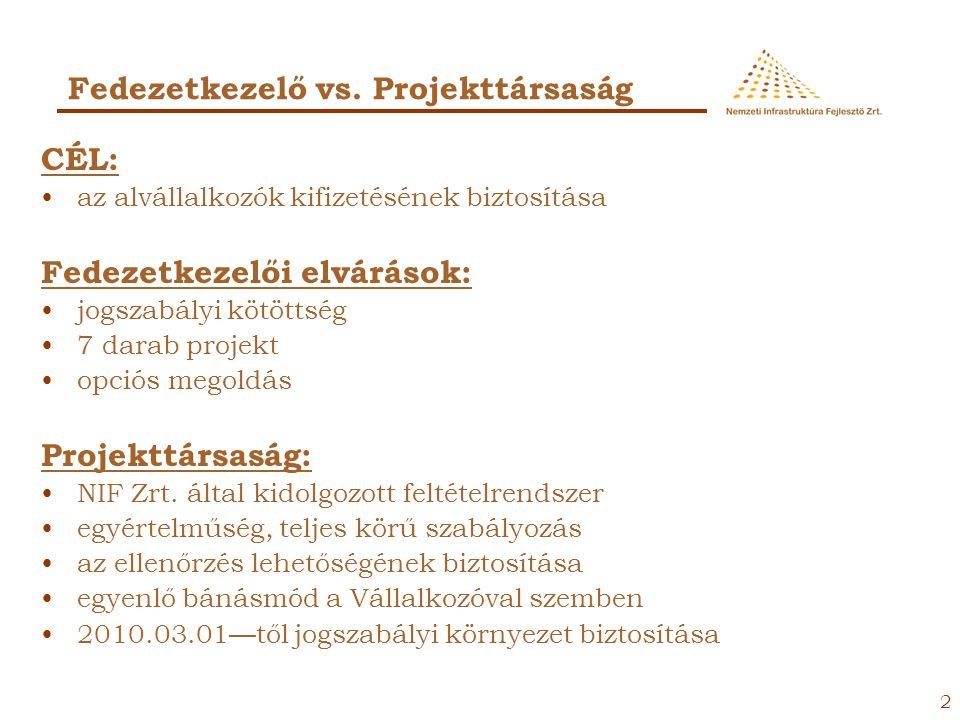 Fedezetkezelő vs. Projekttársaság