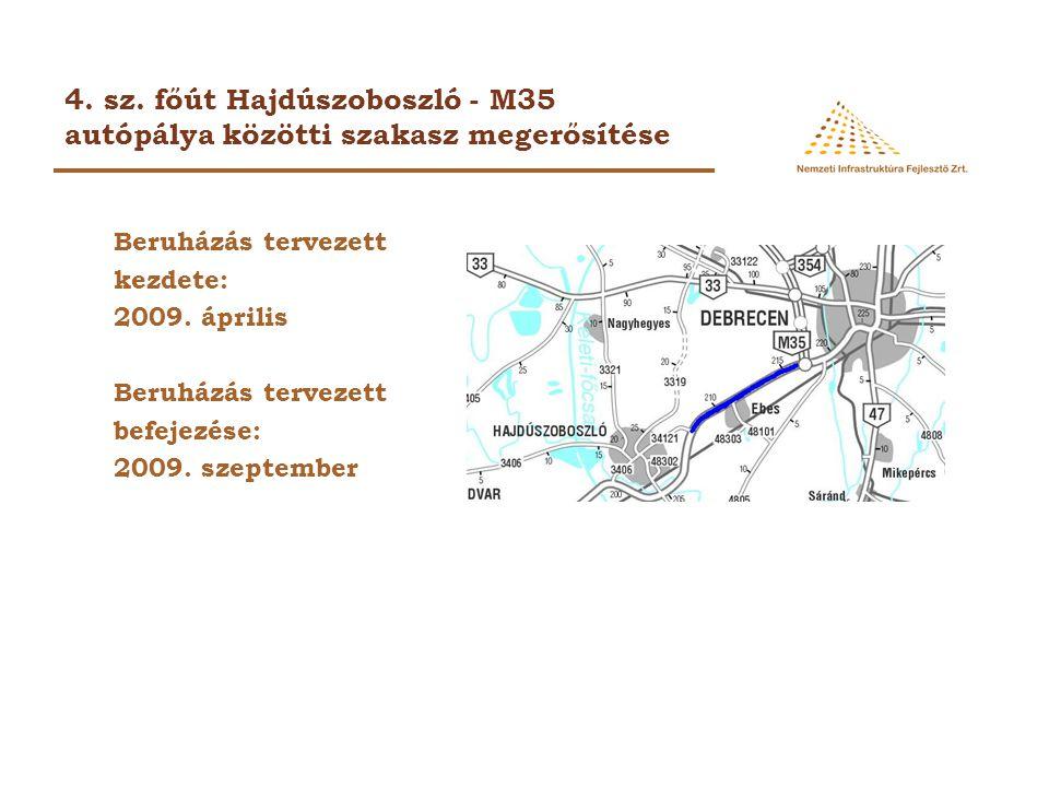 4. sz. főút Hajdúszoboszló - M35 autópálya közötti szakasz megerősítése