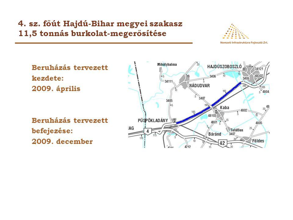 4. sz. főút Hajdú-Bihar megyei szakasz 11,5 tonnás burkolat-megerősítése