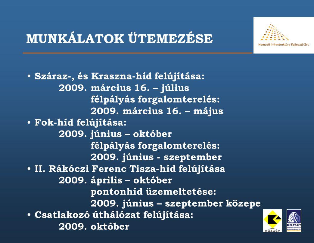 MUNKÁLATOK ÜTEMEZÉSE Száraz-, és Kraszna-híd felújítása: