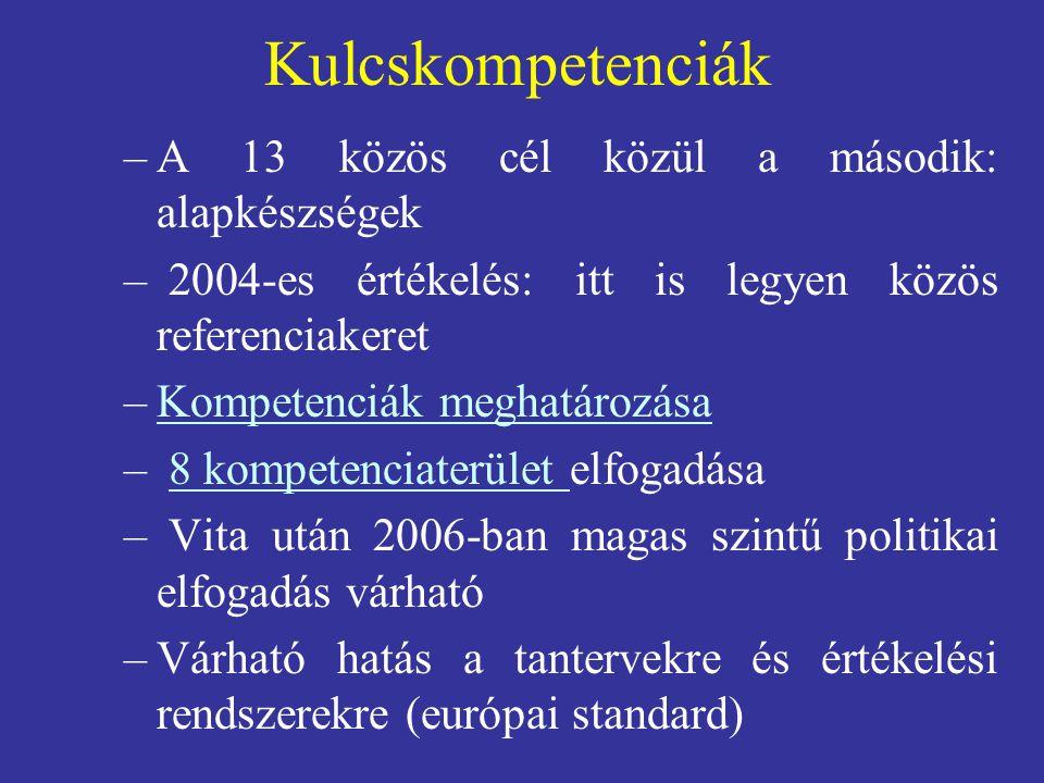 Kulcskompetenciák A 13 közös cél közül a második: alapkészségek