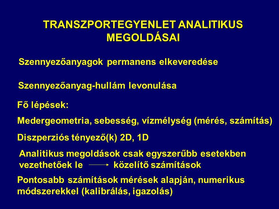 TRANSZPORTEGYENLET ANALITIKUS MEGOLDÁSAI