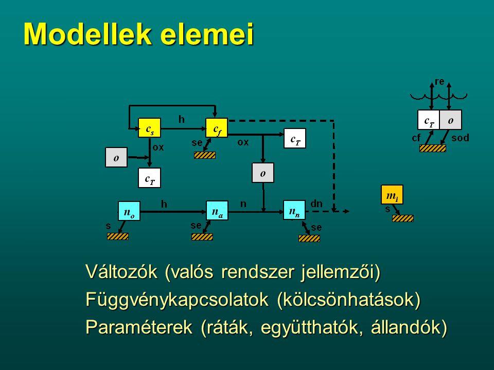 Modellek elemei Változók (valós rendszer jellemzői)