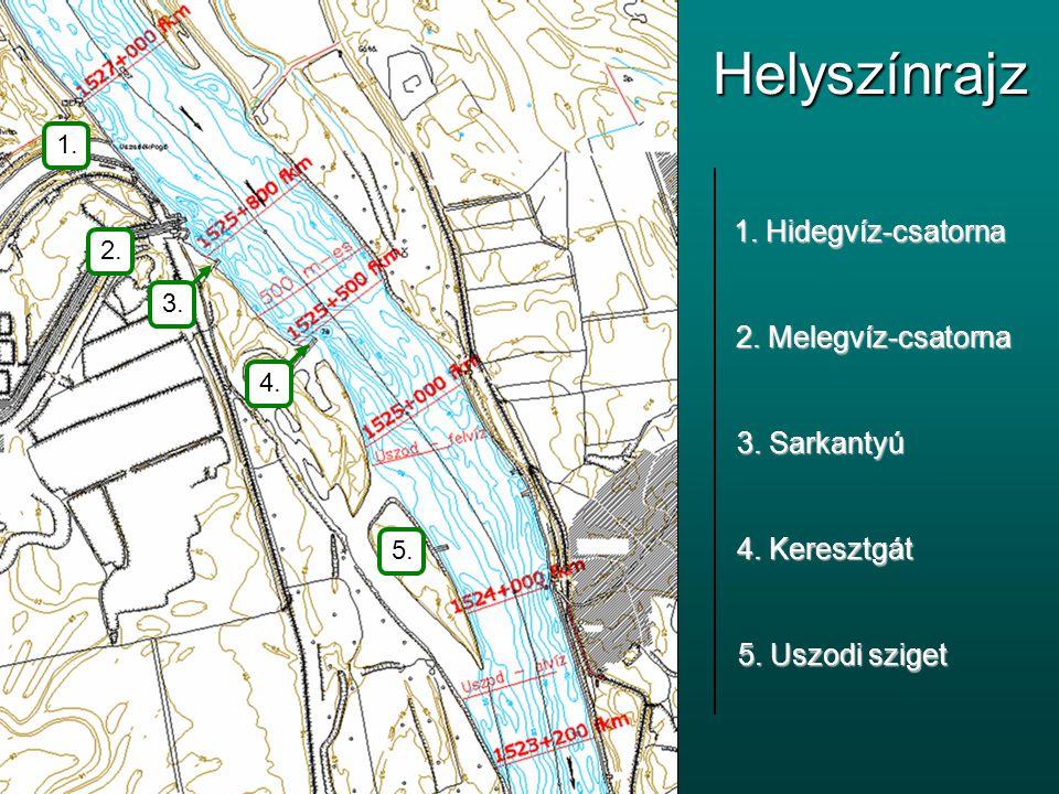 Helyszínrajz 1. Hidegvíz-csatorna 2. Melegvíz-csatorna 3. Sarkantyú