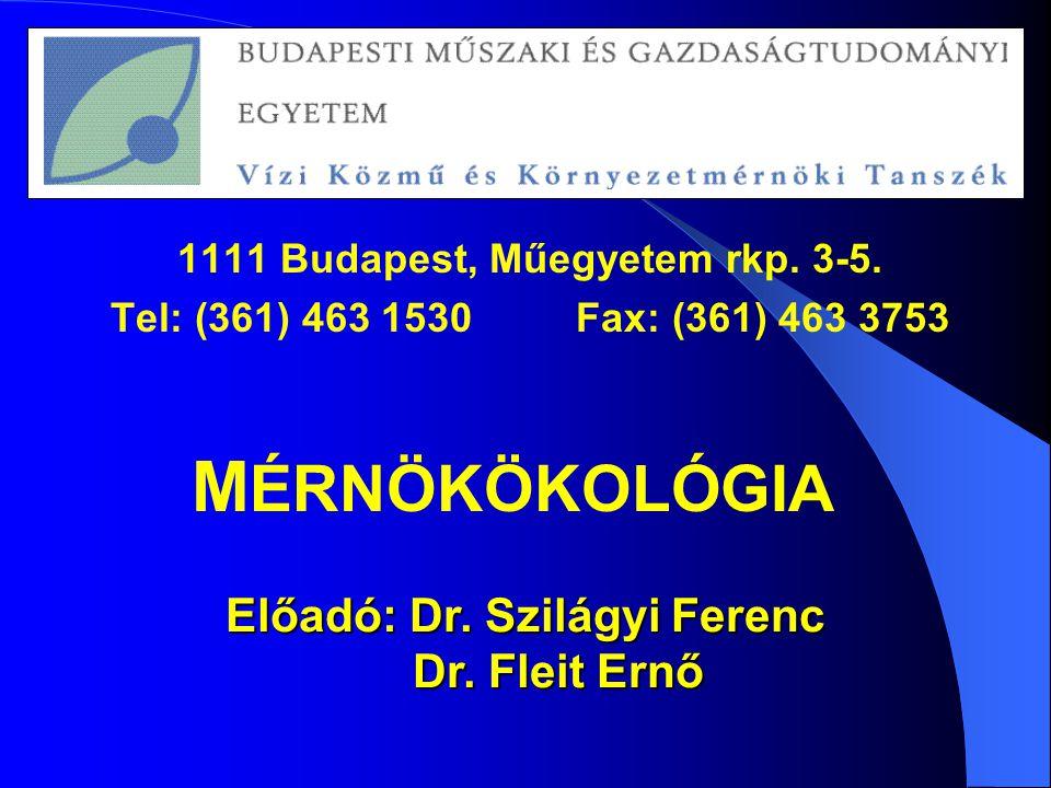 1111 Budapest, Műegyetem rkp. 3-5. Előadó: Dr. Szilágyi Ferenc