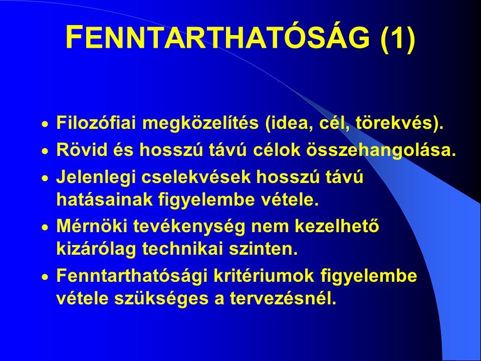 FENNTARTHATÓSÁG (1) Filozófiai megközelítés (idea, cél, törekvés).