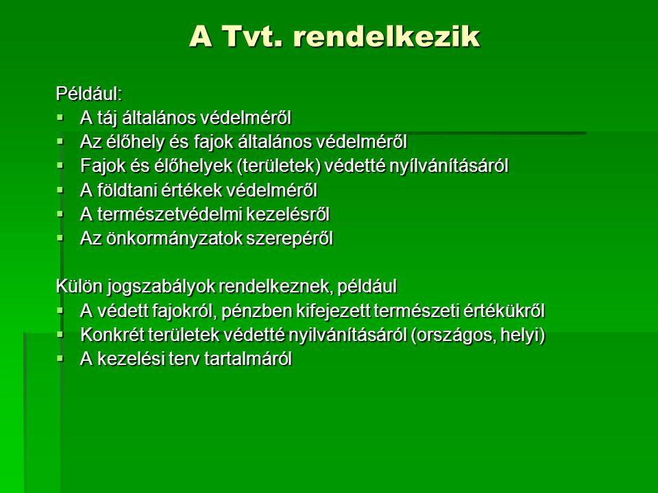 A Tvt. rendelkezik Például: A táj általános védelméről