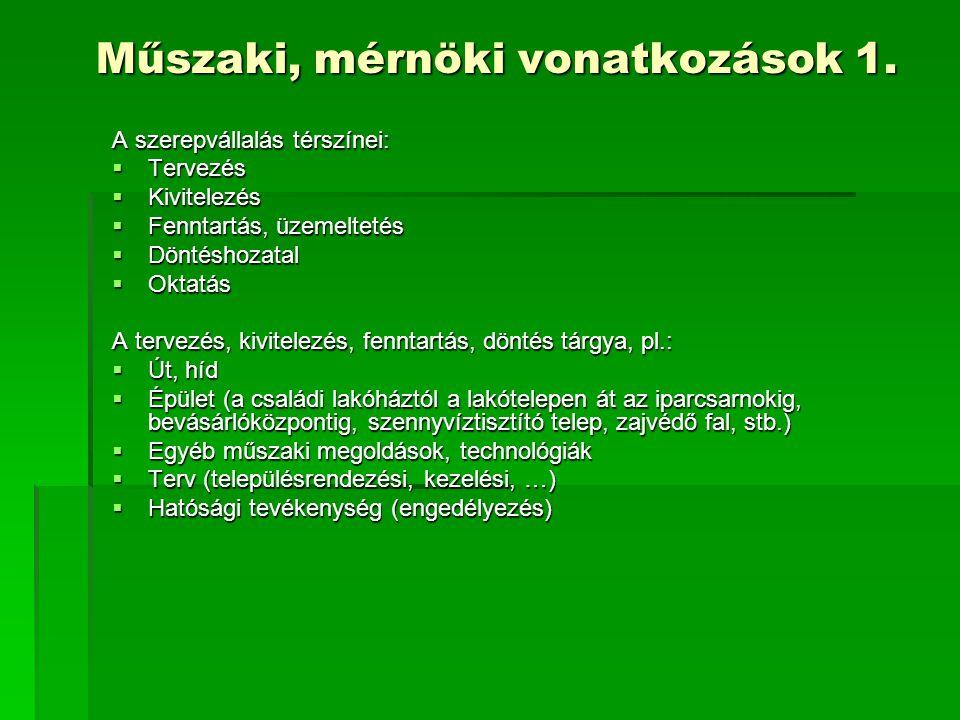 Műszaki, mérnöki vonatkozások 1.