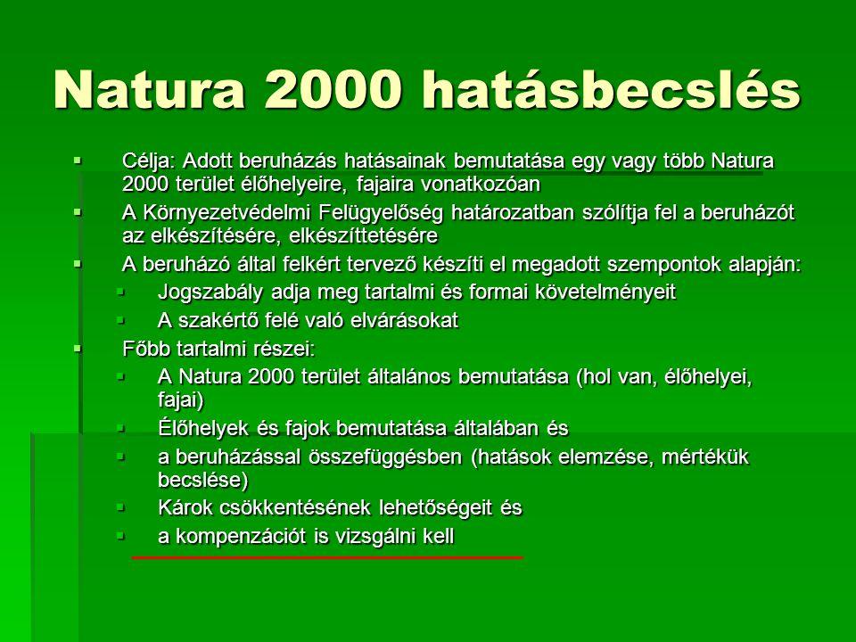 Natura 2000 hatásbecslés Célja: Adott beruházás hatásainak bemutatása egy vagy több Natura 2000 terület élőhelyeire, fajaira vonatkozóan.