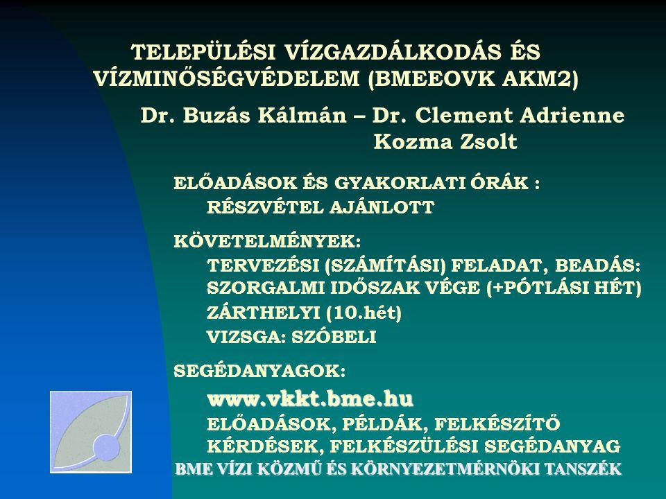 TELEPÜLÉSI VÍZGAZDÁLKODÁS ÉS VÍZMINŐSÉGVÉDELEM (BMEEOVK AKM2)