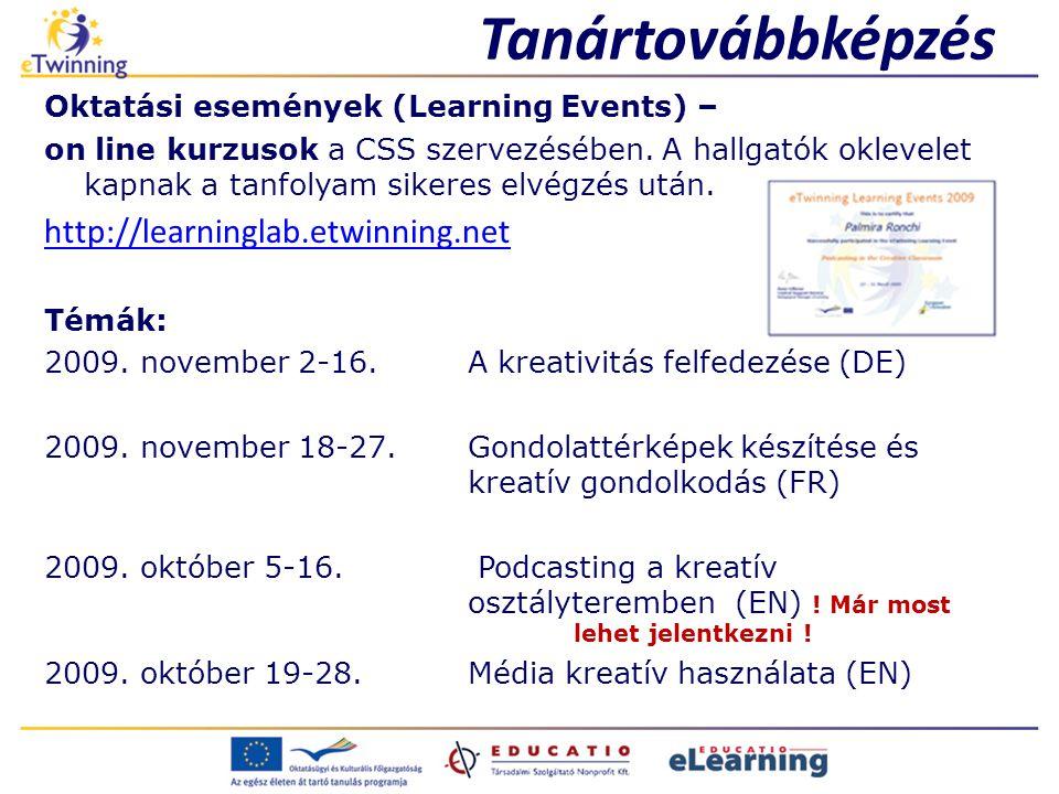Tanártovábbképzés http://learninglab.etwinning.net