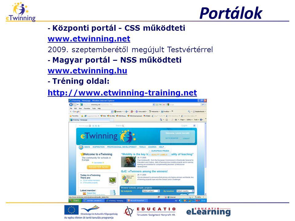 Portálok - Központi portál - CSS működteti www.etwinning.net