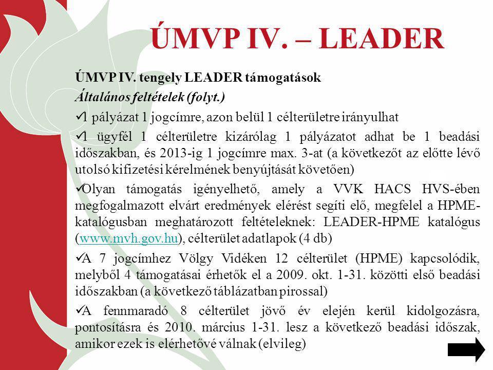 ÚMVP IV. – LEADER ÚMVP IV. tengely LEADER támogatások