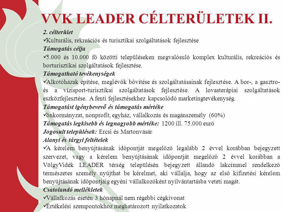 VVK LEADER CÉLTERÜLETEK II.
