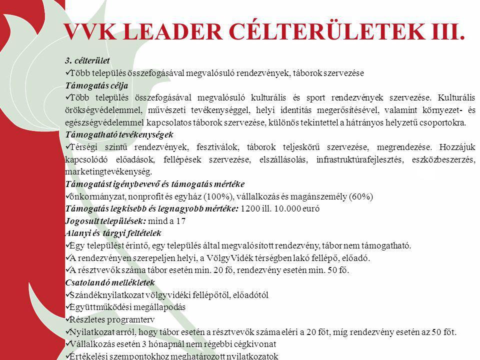 VVK LEADER CÉLTERÜLETEK III.