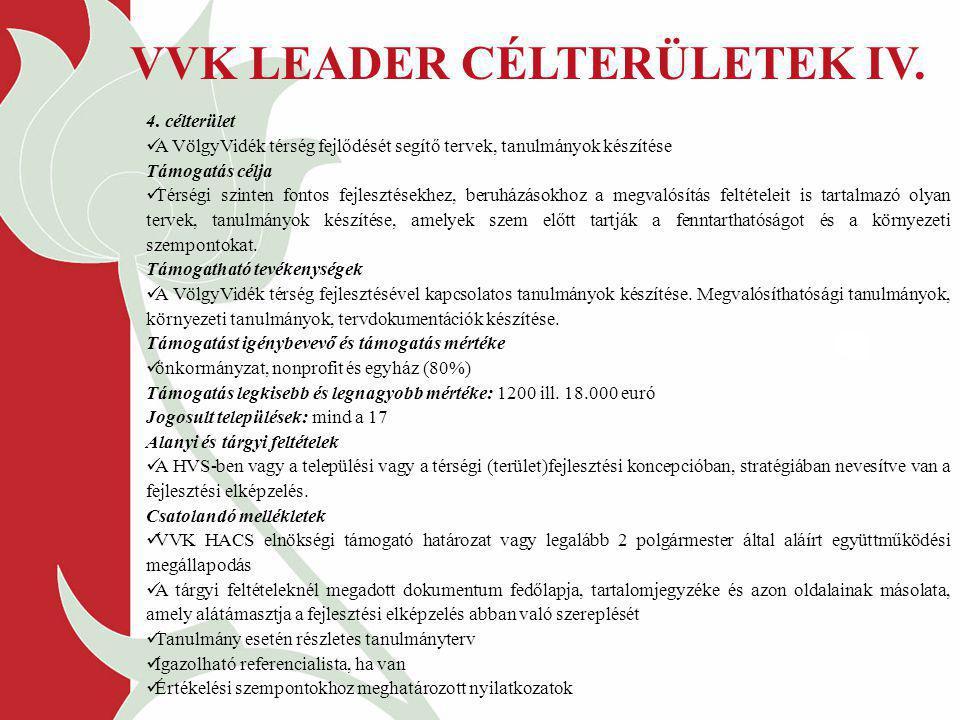 VVK LEADER CÉLTERÜLETEK IV.