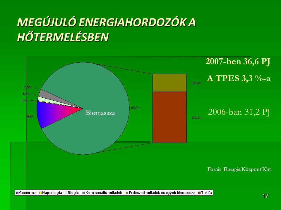MEGÚJULÓ ENERGIAHORDOZÓK A HŐTERMELÉSBEN