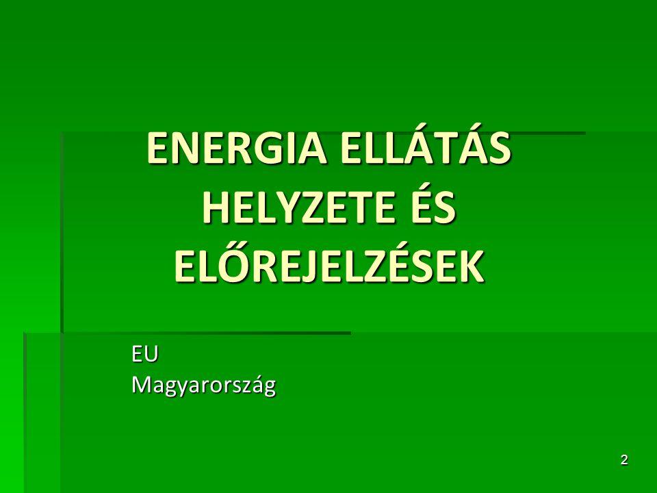 ENERGIA ELLÁTÁS HELYZETE ÉS ELŐREJELZÉSEK