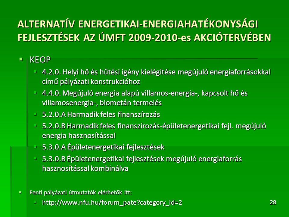 ALTERNATÍV ENERGETIKAI-ENERGIAHATÉKONYSÁGI FEJLESZTÉSEK AZ ÚMFT 2009-2010-es AKCIÓTERVÉBEN