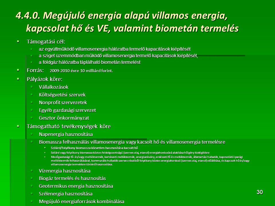 4.4.0. Megújuló energia alapú villamos energia, kapcsolat hő és VE, valamint biometán termelés