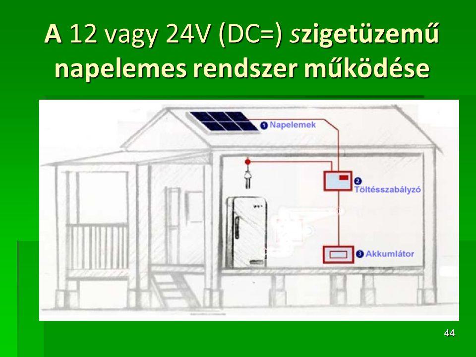 A 12 vagy 24V (DC=) szigetüzemű napelemes rendszer működése