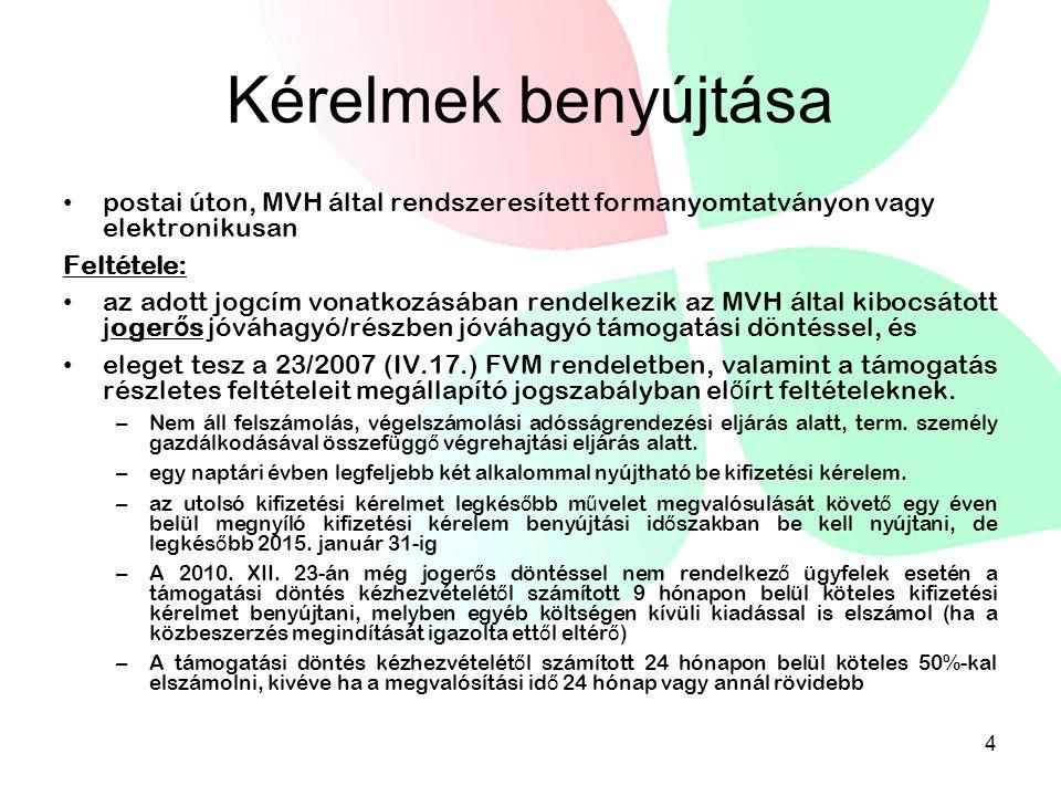 Kérelmek benyújtása postai úton, MVH által rendszeresített formanyomtatványon vagy elektronikusan.