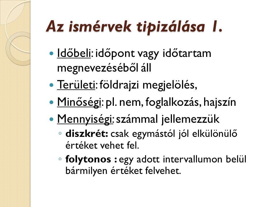 Az ismérvek tipizálása 1.