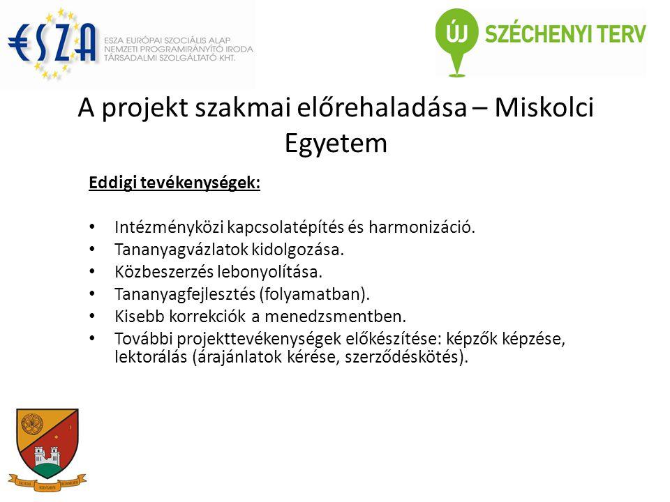 A projekt szakmai előrehaladása – Miskolci Egyetem