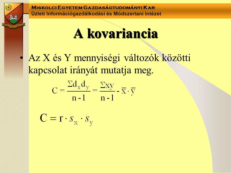 A kovariancia Az X és Y mennyiségi változók közötti kapcsolat irányát mutatja meg.