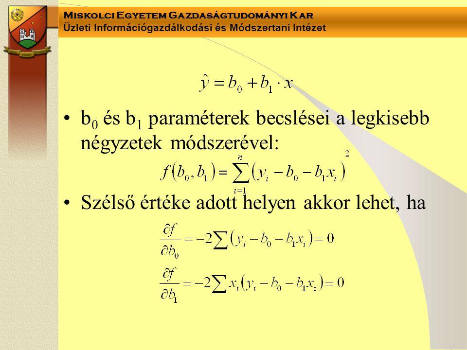 b0 és b1 paraméterek becslései a legkisebb négyzetek módszerével: