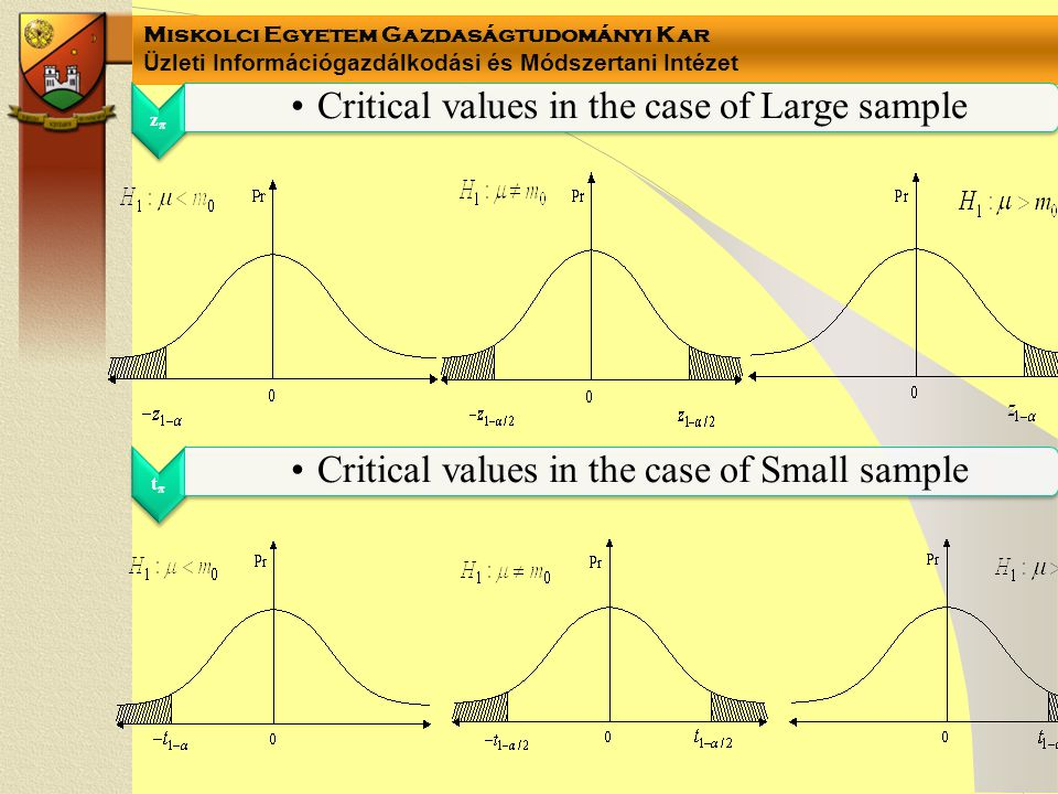 Critical values in the case of Large sample