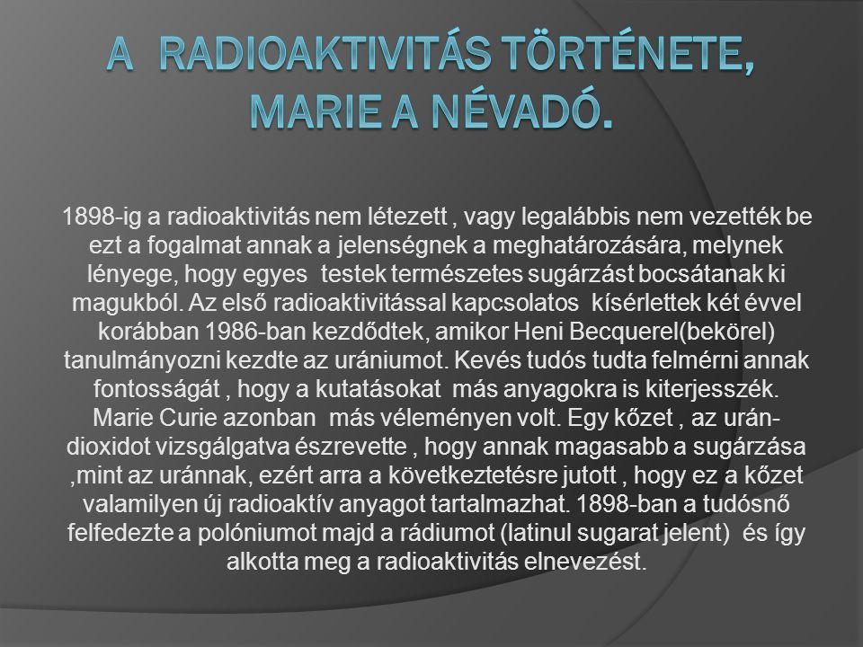 A Radioaktivitás története, Marie a névadó.