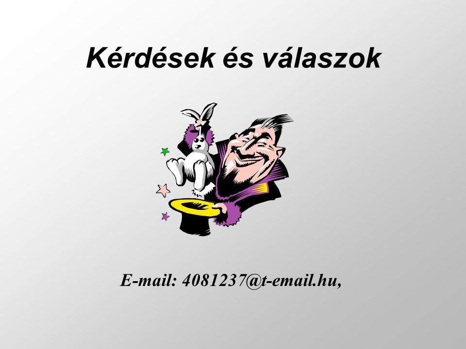 Kérdések és válaszok E-mail: 4081237@t-email.hu,
