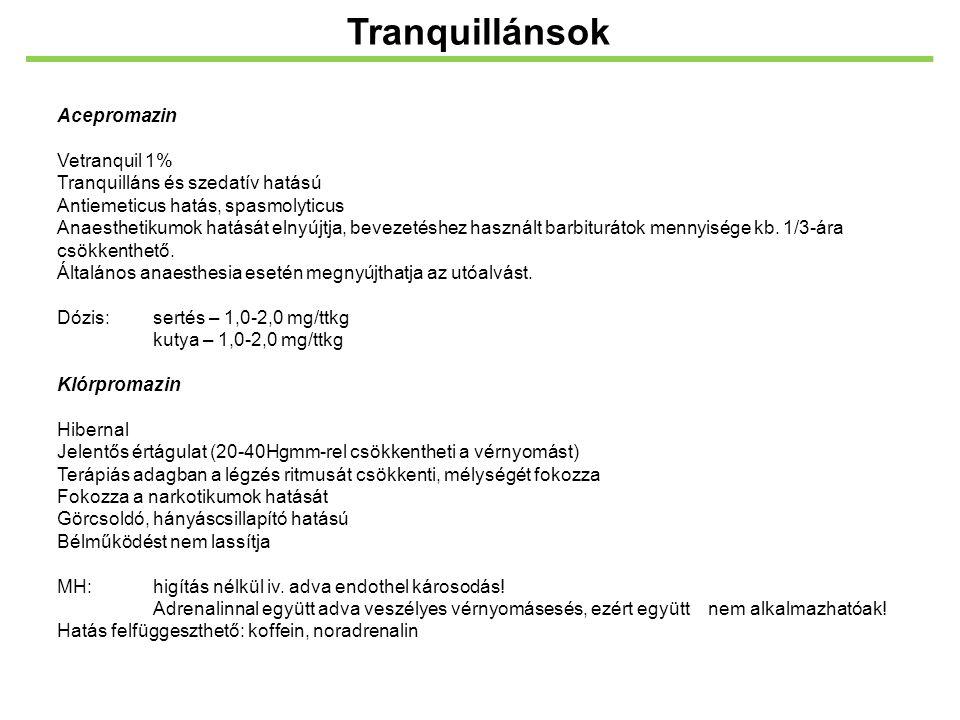 Tranquillánsok Acepromazin Vetranquil 1%
