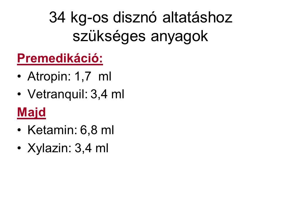 34 kg-os disznó altatáshoz szükséges anyagok