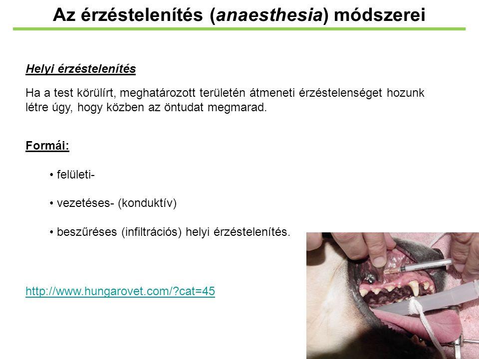 Az érzéstelenítés (anaesthesia) módszerei