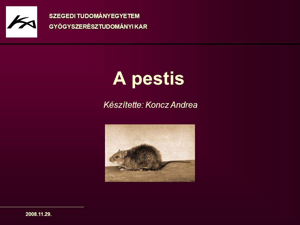 A pestis Készítette: Koncz Andrea SZEGEDI TUDOMÁNYEGYETEM
